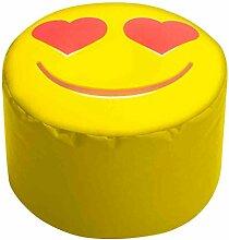 Sitzhocker mit Smile-Muster, Dot Com, Füllung aus 100 % EPS-Perlen, 60 l Volumen, Maße: B/H/T ca. 50/30/50 cm