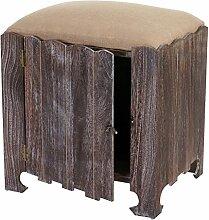 Sitzhocker Navan, Hocker Sitzwürfel, Shabby-Look Vintage mit Staufach 58x51x41cm braun