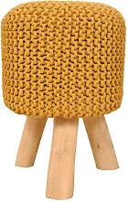 Sitzhocker Pouf 35 cm handgestrickt zitronengelb - Voglrieder