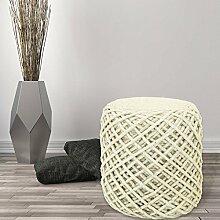 Sitzhocker Pouf Fußhocker Handgefertigt 100% Naturmaterial Wolle Viskose 40x40cm Ivory