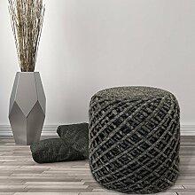 Sitzhocker Pouf Fußhocker Handgefertigt 100% Naturmaterial Wolle Viskose 40x40cm Graphite