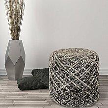 Sitzhocker Pouf Fußhocker Handgefertigt 100% Naturmaterial Wolle Viskose 40x40cm Coffee