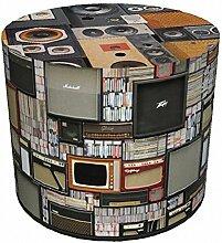 Sitzhocker Retro l Vintage Music Design l 40x40 l Stoffbezug Waschbar l Sitzwürfel l Handarbei
