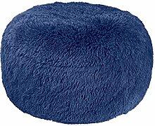 Sitzhocker Sitzpouf Hocker Sitzkissen Bodenkissen Ottomane blau aufblasbar Fell
