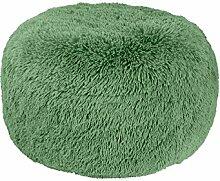Sitzhocker Sitzpouf Hocker Sitzkissen Bodenkissen Ottomane grün aufblasbar Fell