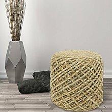 Sitzhocker Sitzwürfel Beistellhocker Pouf Handgefertigt 100% Naturmaterial 40x40 cm Beige