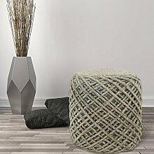 Sitzhocker Sitzwürfel Beistellhocker Pouf Handgefertigt 100% Naturmaterial 40x40 cm Grau