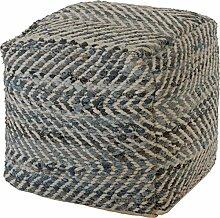 Sitzhocker / Sitzwürfel Jeans, handgewebt 40x40x40cm (012)
