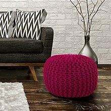 Sitzhocker Sitzwürfel Poufs Handgefertigt Baumwolle Grobstrick Pink 43x40cm, Farbe:Pink