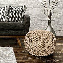 Sitzhocker Sitzwürfel Poufs Stilvoll Handgefertigt Baumwolle Grobstrick 43x40cm Beige