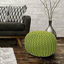 Sitzhocker Sitzwürfel Poufs Stilvoll Handgefertigt Baumwolle Grobstrick 43x40cm Grün
