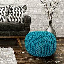 Sitzhocker Sitzwürfel Poufs Stilvoll Handgefertigt Baumwolle Grobstrick 43x40cm Türkis