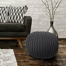Sitzhocker Sitzwürfel Poufs Stilvoll Handgefertigt Baumwolle Grobstrick 43x40cm Anthrazi
