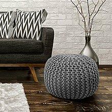 Sitzhocker Sitzwürfel Poufs Stilvoll Handgefertigt Baumwolle Grobstrick 43x40cm Grau