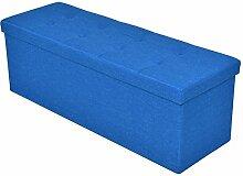 Sitzhocker Sitzwürfel Sitzbank Sitzbox Aufbewahrungsbox Hocker Bank Sitztruhe Truhe faltbar (Blau)