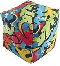 Sitzhocker Sitzwürfel Würfel Sitzsack Sitzkissen Kindersack Kinderwürfel Hocker (graffiti bunt)