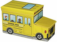 Sitzhocker Spielzeugtruhe BUS in gelb faltbar mit Stauraum und abnehmbaren Deckel