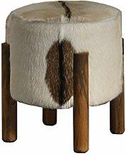 Sitzhocker Teak Hocker rund Fell braun-weiß | Partyhocker Sitzwürfel | Holz rustikal