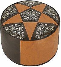 Sitzkissen 34 x 50 x 50 Hocker Möbelhocker Pouf ORIENT braun rund Kunstleder