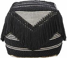 Sitzkissen mit Baumwollbezug mit Fransen, schwarz