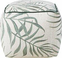 Sitzkissen mit Palmblatt-Druckmotiv, grün und