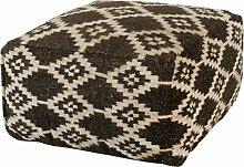 Sitzkissen / Würfel mit Kelim Muster Raute aus Wolle, handgewebt 55x55x35cm - Schwarz, Weiss (009)