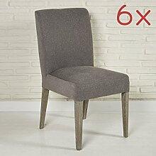 Sitzmöbel Set Besucherstühle Esszimmerstühle für Warteraum Wohnzimmer oder Esszimmer - Designer Stoffstuhl Polsterstühle in dunkelgrau