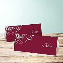 Sitzplatzkarten Hochzeit, Garten der Träume 35 Karten, Horizontale Klappkarte 100x38, Ro