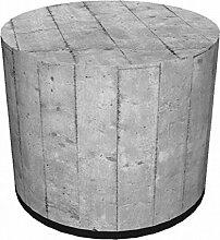 Sitzpouf Beton-Optik Hocker mit Stoffbezug l 40x40 l Waschbar l Sitzwürfel l Handarbei