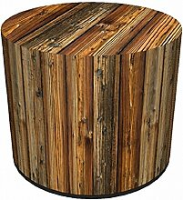 Sitzpouf Fichte Baumstumpf Hocker mit Stoffbezug l 40x40 l Waschbar l Sitzwürfel l Handarbei