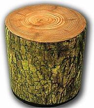 Sitzpouf Moosig Holzhocker Fußhocker Holzoptik Holzschemel - Sitzwürfel Sitzhocker Sitzpuff i Sitzsack Hocker aus Filz l Fußhocker l Handarbeit l Designer Look