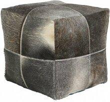 Sitzpouf Sitzwürfel Hocker Kuhfell grau 45x45x40 cm