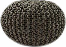 Sitzpuff Sitzhocker Bodenkissen ver. Farben Ø 55 cm Baumwolle handgeknüpft (dunkelbraun ( BR))