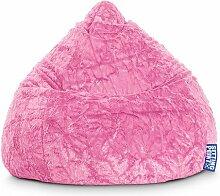 Sitzsack aus Webplüsch in pink, Beanbag Fluffy XL, Material 100 % Polyester, Füllung aus 100 % EPS-Perlen, 220 l Volumen, Maße B/H ca. 70/110 cm