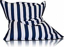 Sitzsack Beanbag Bettwäsche Stripe Muster Polyester XL 170x 135cm (weiß und marineblau)