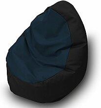 Sitzsack Beanbag Walnuss Kunstleder 85x 85cm Schwarz marineblau