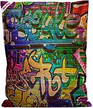 Sitzsack Big Bag Graffiti, Rückseite in blau, 380 l Volumen, Maße: B/H/T ca. 130/170/20 cm