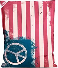 Sitzsack Big Bag Peace Flag, Rückseite in dunkelblau, 380 l Volumen, Maße: B/H/T ca. 130/170/20 cm