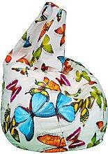 Sitzsack Birne XL (130x 80x 80bedruckt Schmetterling)