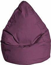 Sitzsack in aubergine, Beanbag Brava XL, Füllung aus 100 % EPS-Perlen, 220 l Volumen, Maße: B/H/T ca. 70/110/70 cm