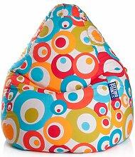 Sitzsack in bunt mit Kreisen, Material 100 % Baumwolle - Cretonne, Beanbag Malibu XL, Füllung 100 % EPS-Perlen, 220 l Volumen, Maße B/H ca. 70/110 cm