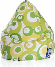 Sitzsack in grün, Material 100 % Baumwolle - Cretonne, Beanbag Malibu XL, Füllung aus 100 % EPS-Perlen, 220 l Volumen, Maße B/H ca. 70/110 cm
