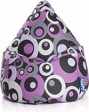 Sitzsack in lila, Material 100 % Baumwolle - Cretonne, Beanbag Malibu XL Füllung aus 100 % EPS-Perlen, 220 l Volumen, Maße B/H ca. 70/110 cm