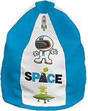 Sitzsack Kinderzimmer Sitzkissen mit Reißverschluss und separaten Innensack Sessel - für Kinder 2-in1 Funktionen mit Füllung Sitzkissen Bodenkissen Kissen Sessel BeanBag Lazy Bag M Motiv: Weltraum