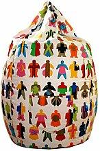 Sitzsack mit Baumwoll-Jeansstoff Bezug, Muster: People, in weiss/bunt, 65x75cm