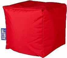 Sitzsack rot, Cube Scuba, Material 100 % Polyester, Füllung 100 % EPS-Perlen, PVC-beschichtet, outdoorfähig, wasserabweisend, B/H/T ca. 40/40/40 cm