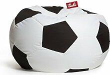 Sitzsack Schwarz Fußball mit Styropor Füllung 250l, 85x50 cm, Made in EU Manufaktur Einschichtig - Sitzsäcke - Bodenkissen Sitzkissen Kissen Sessel Sitzsofa