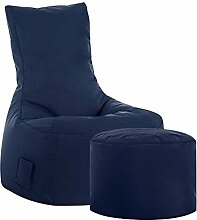 Sitzsack Sessel in Dunkelblau Hocker Tiefe 65 cm mit Fußhocker Nein Pharao24