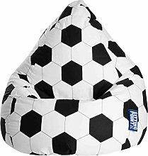 Sitzsack, Sitzkissen ,Fussball, schwarz-weiß, Maße: B/H/T ca. 70/110/70 cm