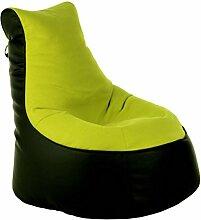 Sitzsack von XMC Comfort Lotos-Genua in der Farbe Lotos Black 01. Genua Lime 06.